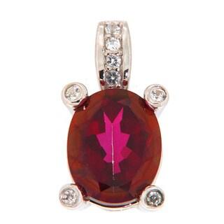 Pearlz Ocean Crimson and White Topaz Pendant Necklace