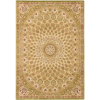 Persia Isfahan Light Green Medallion Rug (7'10 x 11'2)
