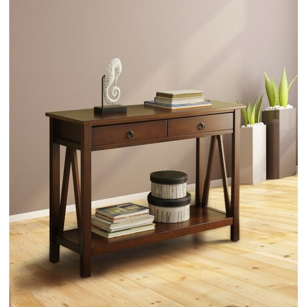 Oh Home Tiziano Sofa Table Aged Cherry Rectangular Top