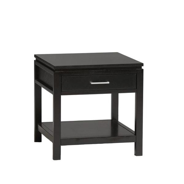 Linon Sutton Black Wood End Table