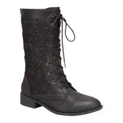 Women's Beston La-30 Black Faux Leather