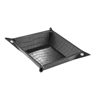 Black Leather Crocodile Tray