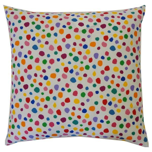 Fuzzy White Kids Polka Dot 20x20-inch Pillow