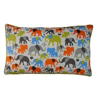 Elephant City Green and Blue Kids Animal Print 12x20-inch Pillow