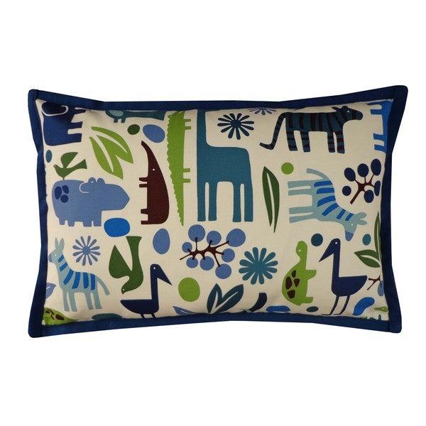 Cheerful Hippo Blue Kids Animal Print 12x20-inch Pillow
