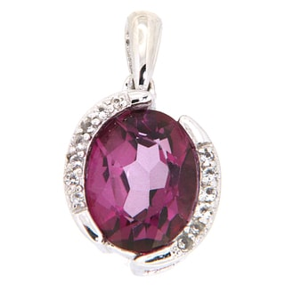 Pearlz Ocean Pink Magenta and White Topaz Pendant Necklace