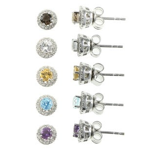 Pearlz Ocean Sterling Silver Gemstone and White Topaz Studs (Set of 5)