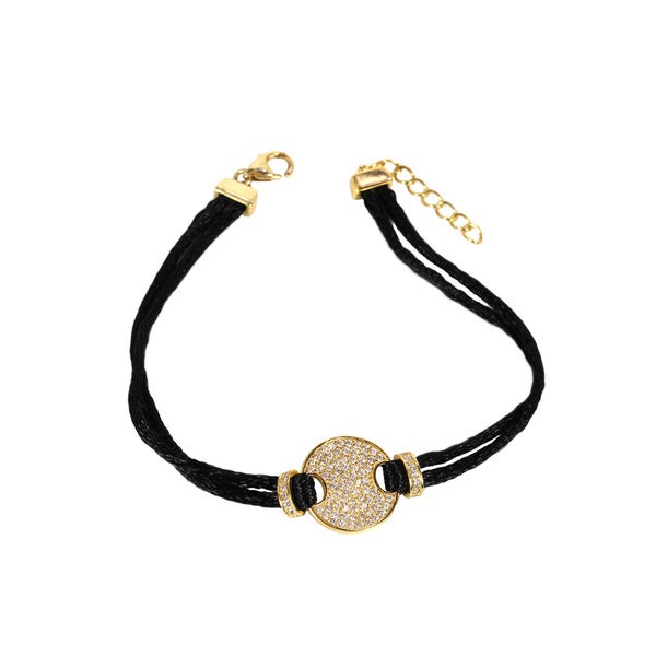 Sonia Bitton Goldplated Sterling Silver Disk Black Satin Bracelet