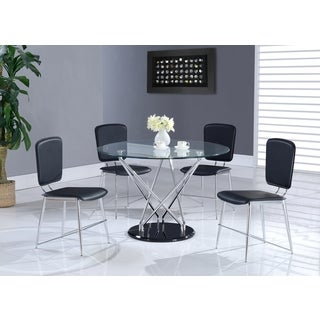 Contemporary Round Glass-top Chrome Dining Table