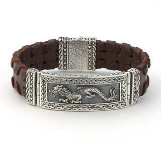 Samuel B Imperal Men's Sterling Silver Oriental Incripted Wide Leather 8.5-inch Bracelet