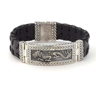 Samuel B Imperal Men's Sterling Silver Oriental Incripted Wide Black Leather 8.5-inch Bracelet
