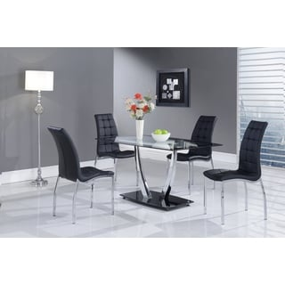 Black Trim Glass-top Rectangular Dining Table