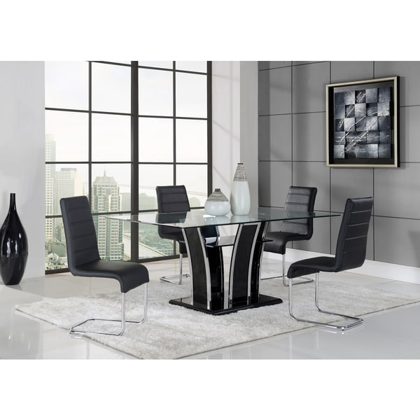 Chrome/ Black Glass Dining Table