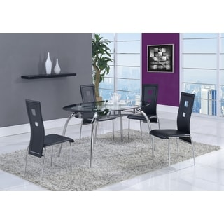 Oval Black Trim Glass Dining Table