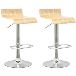 CorLiving DWN-490-B Curved Seat Light Bentwood Adjustable Barstool (Set of 2)