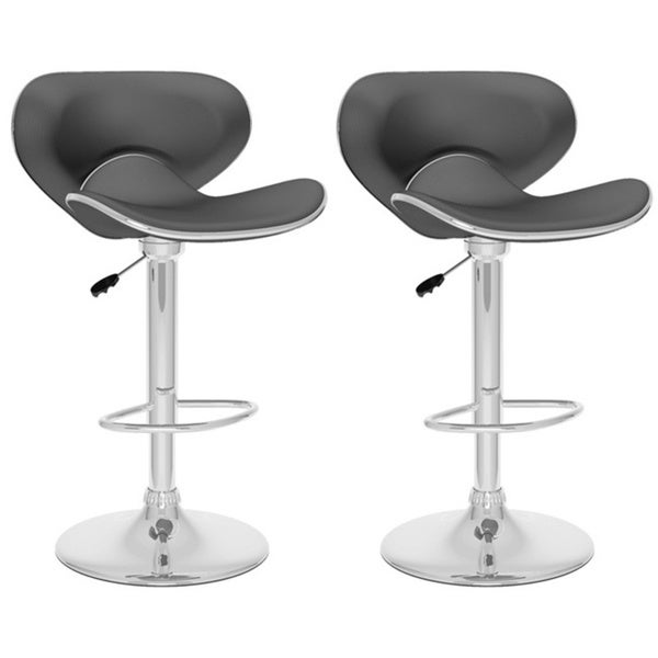 CorLiving B-5X2-VPD Curved Form Fitting Adjustable Barstools (Set of 2)