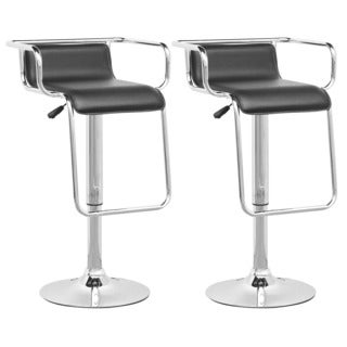 CorLiving DPV-305-B Black Leatherette Adjustable Barstools (Set of 2)