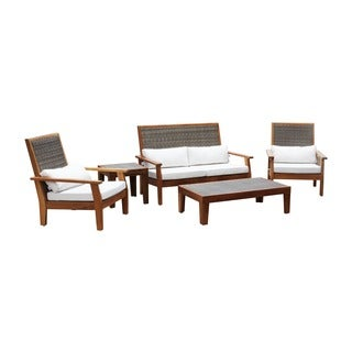 Panama Jack Leeward Islands Natural Teak 5-piece Deep Seating Group Set