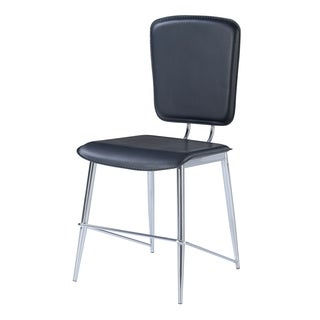 Black and Chrome Dining Chairs (Set of 2)