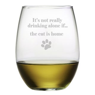 The Cat Is Home Stemless 21-ounce Wine Glasses (Set of 4)
