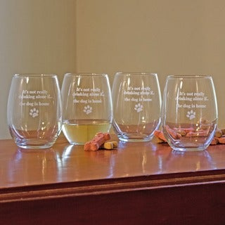 The Dog Is Home 21-ounce Stemless Wine Glasses (Set of 4)