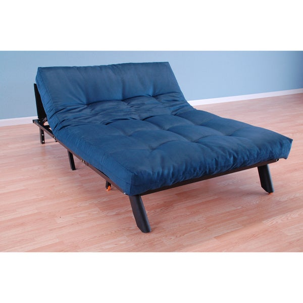 Christopher Knight Home Elroy Frame/Black Finish/Suede Navy Futon