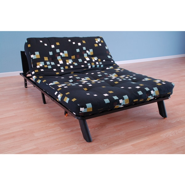 Christopher Knight Home Elroy Frame/Black Finish/Modern Blocks Futon