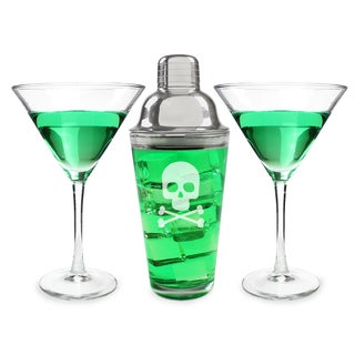 Halloween Skull and Crossbones Martini Set