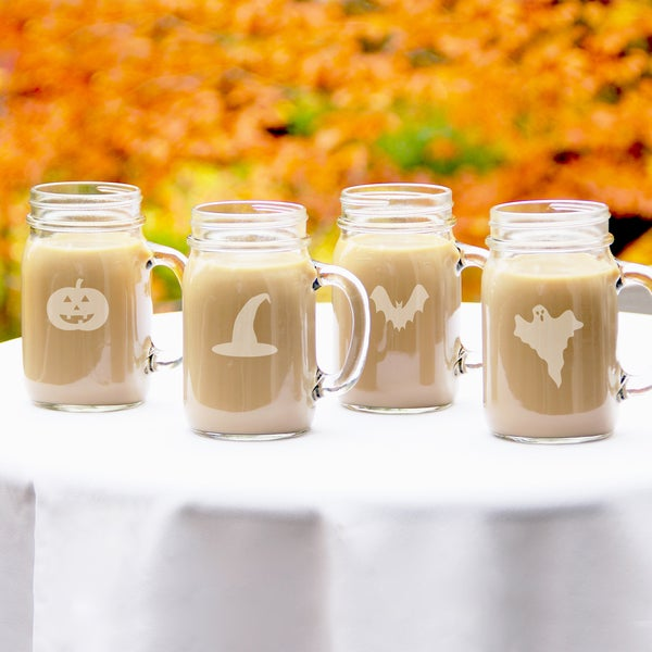 Halloween Trick or Treat Old Fashioned Drinking Jars (Set of 4)