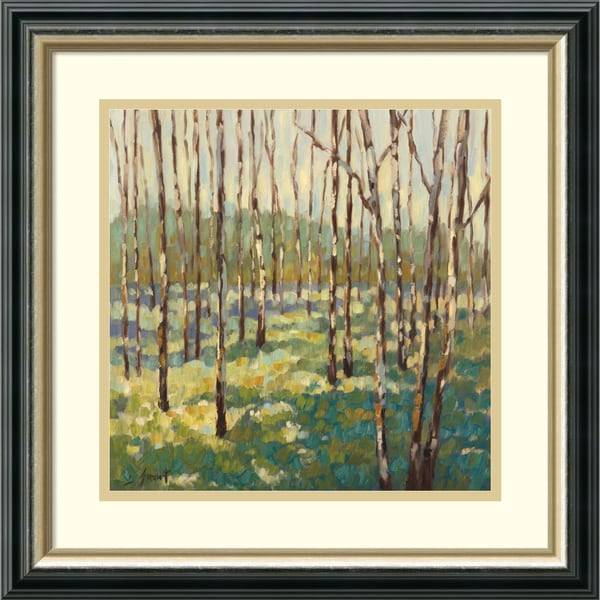 Libby Smart 'Trees in Blue Green' Framed Art Print 19 x 19-inch