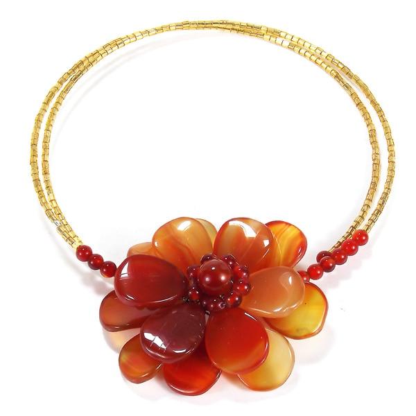 Azalean Beauty Carnelian Stone Floral Choker Necklace (Thailand)