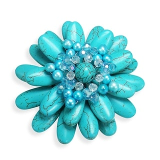 Water Lily Turquoise and Pearl Floral Pin or Brooch (Thailand)