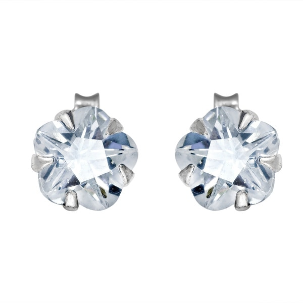 Sparkling Cubic Zirconia Flower .925 Silver Stud Earrings (Thailand)