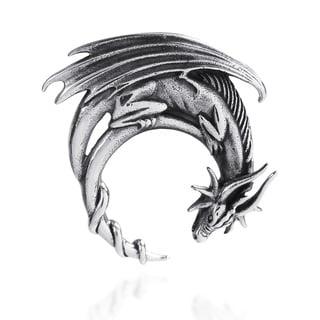 Fierce Winged Dragon .925 Sterling Silver Slide Pendant (Thailand)