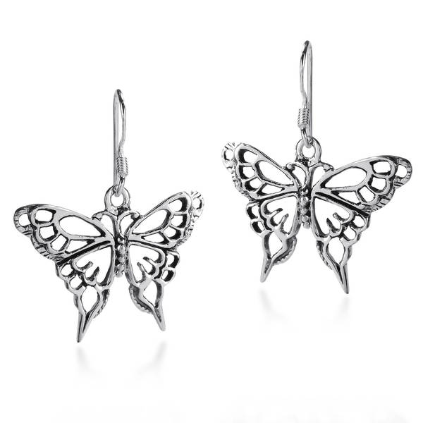 Handmade Exquisite Filigree Wild Butterfly .925 Silver Earrings (Thailand) 13254268