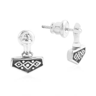 Magnificent Thor's Norse Hammer .925 Silver Post Earrings (Thailand)