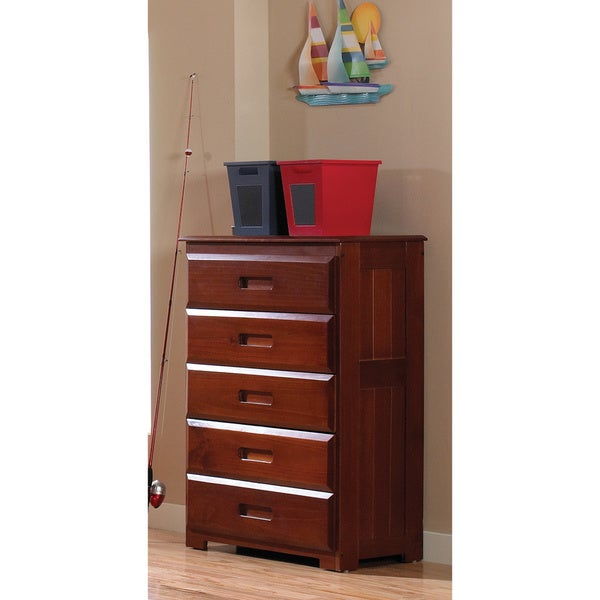 Merlot Pine Wood 5-drawer Chest