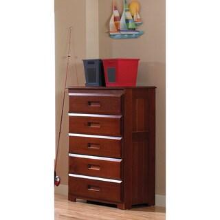 Merlot Pine Wood 5-drawer Chest