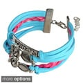 INSTEN Colorful Multistring Leather Bracelet with Silver/ Bronze Alloy Charms
