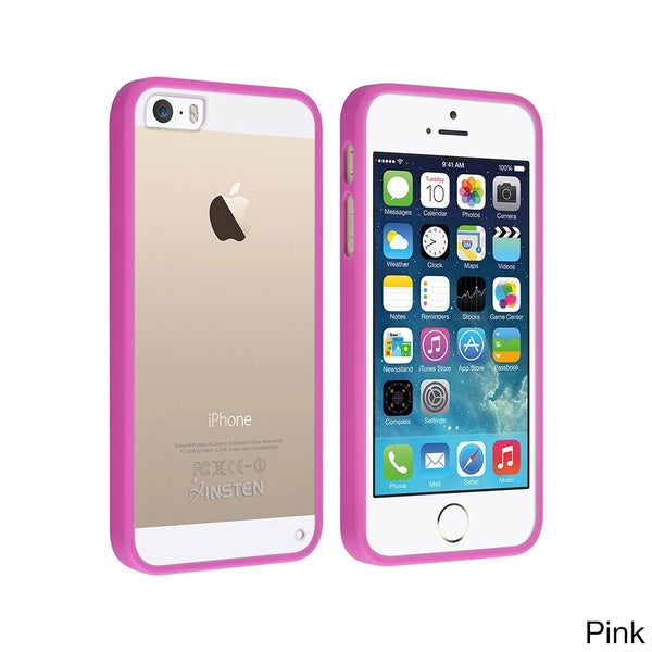 Insten Snap-on TPU Rubber Frame Bumper Clear PC Back Case for Apple iPhone 5/ 5S