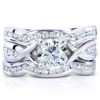 Annello 14k White Gold 1 3/4ct TDW 3-piece Braided Diamond Bridal Ring Set (H-I, I1-I2)