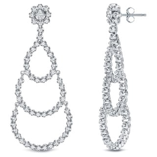 Auriya 18k White Gold 3ct TDW Diamond Chandelier Earrings (F-G, SI1-SI2)
