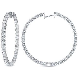 Auriya 14k White Gold 14 1/2ct TDW Diamond Hoop Earrings (H-I, SI1-SI2)