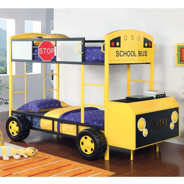 Furniture of America Studious School Bus Inspired Twin Bunk Bed