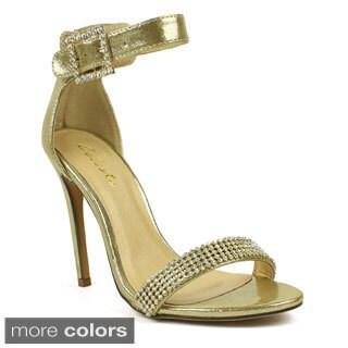 Celeste Women's 'Marie-02' Satin Rhinestone Dress Heels