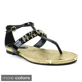 Fahrenheit Women's 'Morena-06' Embellished Flat Sandals