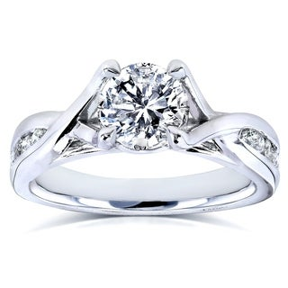 Annello 14k White Gold 1 1/5ct TDW Braided Diamond Engagement Ring (H-I, I1-I2)