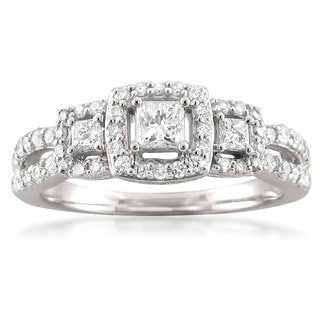 14k White Gold 3/4ct TDW Princess-cut 3-stone Halo Diamond Engagement Ring (H-I, I1)
