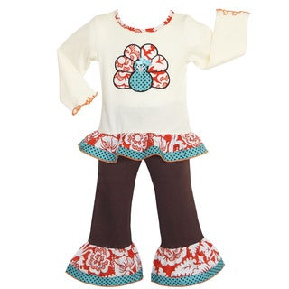 AnnLoren Girl's Boutique Thanksgiving Blossom Turkey Outfit