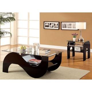 Furniture of America Sanzi 2-Piece Contemporary Black Lacquer Accent Table Set